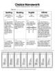 Choice Homework: 3rd Grade Journeys, Unit 2