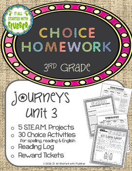 Choice Homework: 3rd Grade Journeys, Unit 3