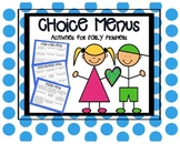 Choice Menu Boards:  Activities for those Early Finishers