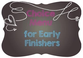 Choice Menu Bulletin Board Kit - A4 Size - Early Finishers - Chalkboard Theme