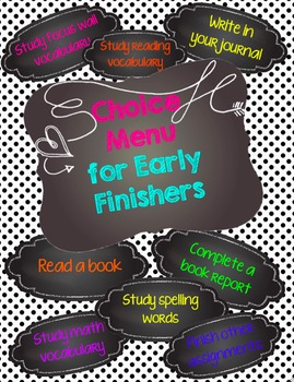 Choice Menu Bulletin Board Kit-Small - Early Finishers - Chalkboard Theme