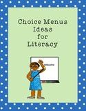 Choice Menu Center Ideas for Literacy: Spelling, Reading, Fluency, Writing