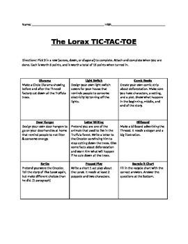 Choice Menu for The Lorax