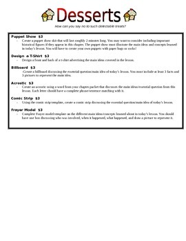 Choice Menu of Differentiated Performance Tasks