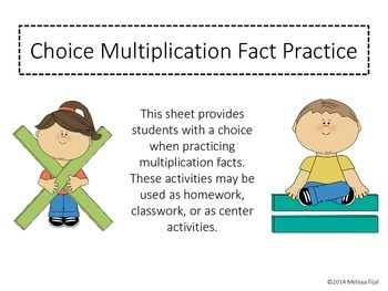 Choice Multiplication Facts Practice