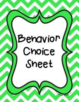 Behavior Choice Sheet