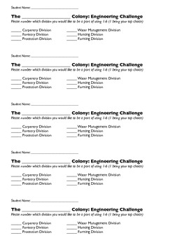 Choice Slips for 'Colonial America Meets Simple Machines!'