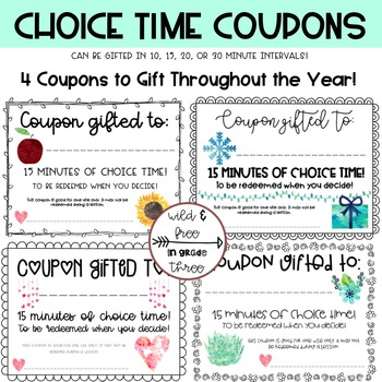 Choice Time Gift Coupons (4 Styles in 10, 15, 20, and 30 Minutes)