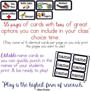 Choice Time Organization Kit for Play Centers, Free Choice, Play Time!