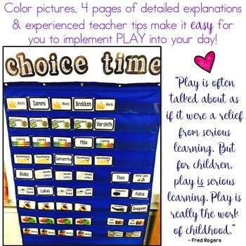 Choice Time Organization Kit .. Play Centers . Free Choice . Play Time . Simple!