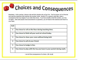 Choice and Consequences Roll-A-Die 1 and 2