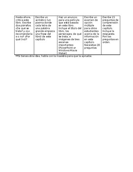 Choice board for independent reading - for heritage students in mixed classes