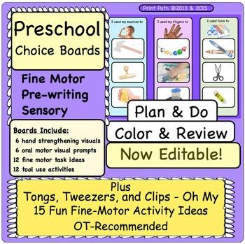 Choice boards: Editable. OT designed pre-writing tasks for preschool children.