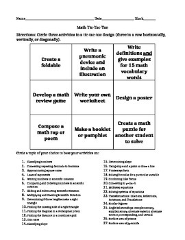 Choiceboard Tic-Tac-Toe End of Year project