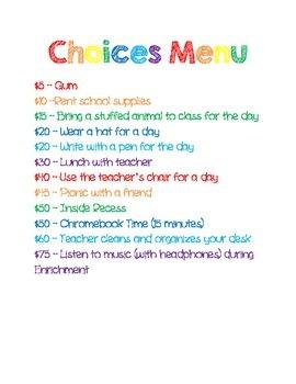 Choices Menu