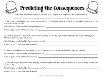 Worksheets Choices And Consequences Worksheet choices and consequences a by school counseling is magical decision making activity packet
