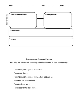 Choices and Consequences Graphic Organizer