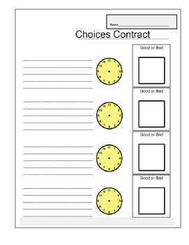 Choices board for making good and bad choices for behavior intervention.