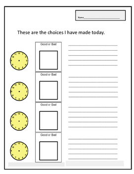 Choices board for making good and bad choices for behavior