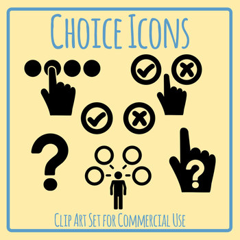 Choices or Choosing or Picking Icons Clip Art Set for Commercial Use