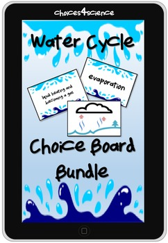 Choices4Science Water Cycle Choice Board Vocab PLUS Techno