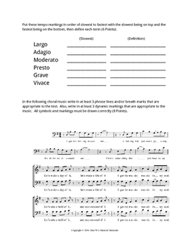 Choir Basics Test