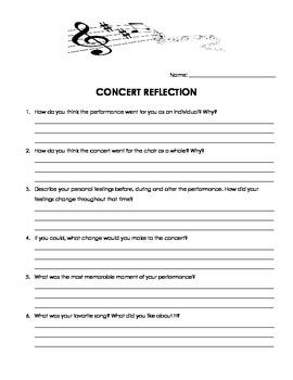 choir concert reflection by marie gouba teachers pay teachers. Black Bedroom Furniture Sets. Home Design Ideas