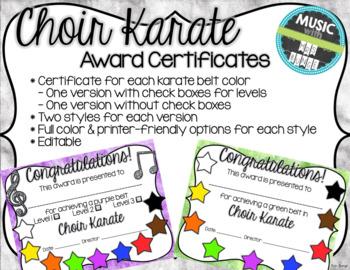Choir Karate Certificates (Recorder Karate Dojo inspired)