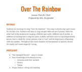 """Choir Lesson Plan- """"Over The Rainbow"""""""