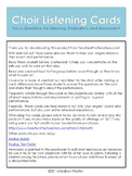 Choir Listening Cards: Focus Questions for Evaluation and Assessment (Editable)