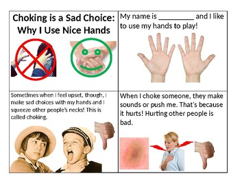 Choking is a Bad Choice - a social story about using nice hands