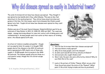 Cholera and Victorian London.  Spread of disease in 19th century worksheet