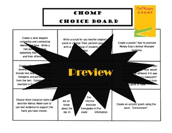 Chomp Choice Board Novel Study Activities Menu Book Project Rubric Tic Tac Toe