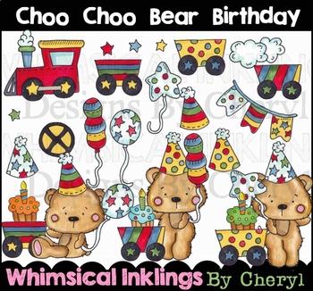 Choo Choo Bear Birthday Clipart Collection