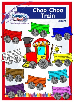 Choo Choo Train Clipart (Add your images/texts to the wagons!)
