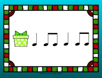 Choose A Christmas Present Rhythm Activity PPT/PDF/Slides - Quarter/Eighth Note