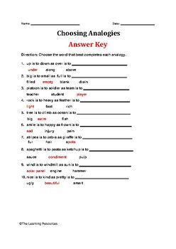 Choose Analogies Worksheet