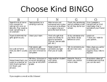 Choose Kind Bingo