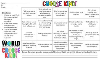 Kindness Scavenger Hunt Worksheets & Teaching Resources | TpT