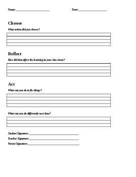 Choose-Reflect-Act Behavior Reflection Sheet