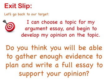 Choose Your Argument - A Common Core Opinion Writing Unit - Choose Your Topic