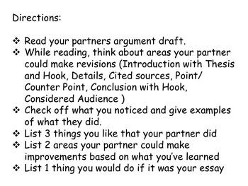 Choose Your Argument - A Common Core Opinion Writing Unit - Peer Critique