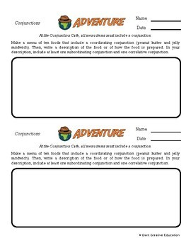 Adventure -- Conjunctions, Preposition & Interjections -- Writing Prompts