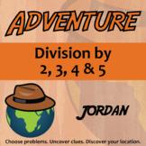 Adventure Math Worksheet -- Divide by 2,3,4,5 -- Jordan