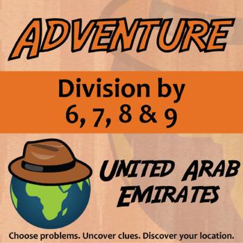 Adventure Math Worksheet -- Divide by 6,7,8,9 -- United Arab Emirates