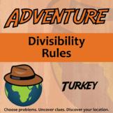 Adventure Math Worksheet -- Divisibility Rules -- Turkey