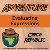 Adventure Math Worksheet -- Evaluating Expressions -- Czech Republic