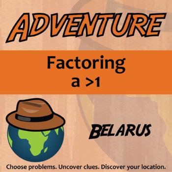 Adventure Math Worksheet -- Factoring with ax^2 -- Belarus