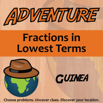 Adventure Math Worksheet -- Fractions in Lowest Terms - Guinea