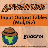 Adventure Math Worksheet -- Input-Output Tables (Mul/Div) -- Ethiopia